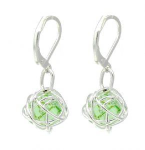 Contemporary Green Grass Crystal Bead Wire Ball Drop Earrings - Secure Lever Back Findings
